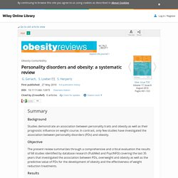 Personality disorders and obesity: a systematic review - Gerlach - 2016 - Obesity Reviews