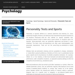 Personality Tests and Sports
