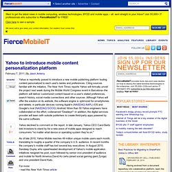 Yahoo to introduce mobile content personalization platform