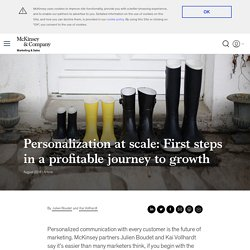 Personalization at scale: First steps in a profitable journey to growth