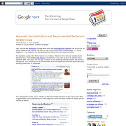 Automatic Personalization and Recommended Sections in Google News