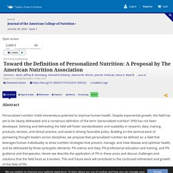 Toward the Definition of Personalized Nutrition: A Proposal by The American Nutrition Association: Journal of the American College of Nutrition: Vol 39, No 1
