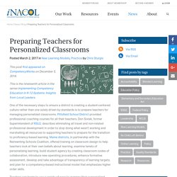 Preparing Teachers for Personalized Classrooms