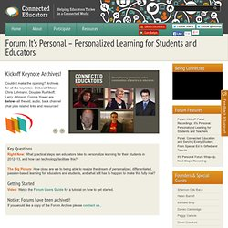 Forum: It's Personal – Personalized Learning for Students and Educators
