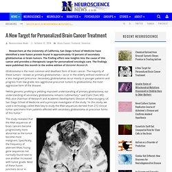 A New Target for Personalized Brain Cancer Treatment