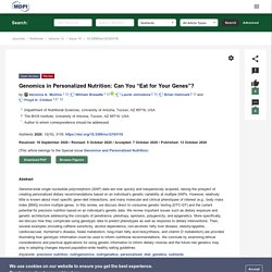 """Genomics in Personalized Nutrition: Can You """"Eat for Your Genes""""?"""