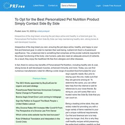 To Opt for the Best Personalized Pet Nutrition Product Simply Contact Side By Side