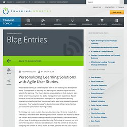 Personalizing Learning Solutions with Agile User Stories
