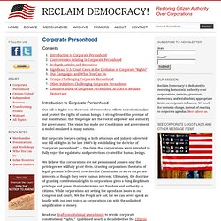 Corporate Personhood-Demeaning Our Bill of Rights - Reclaim Democracy.org