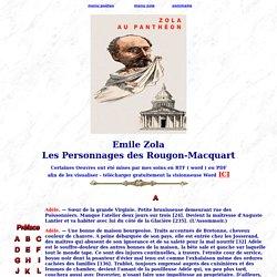 Emile Zola Les Personnages des Rougon-Macquart