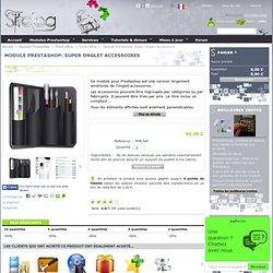 Module Prestashop pour ajouter un super onglet personnalisable des accessoires de vos produits, triés par catégorie ou fabricant