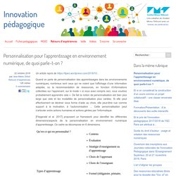 Personnalisation pour l'apprentissage en environnement numérique, de quoi parle-t-on ?