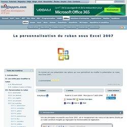 La personnalisation du ruban sous Excel 2007