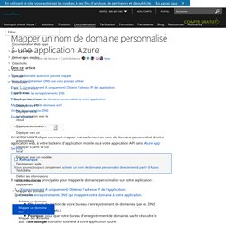 Mapper un nom de domaine personnalisé à une application Azure