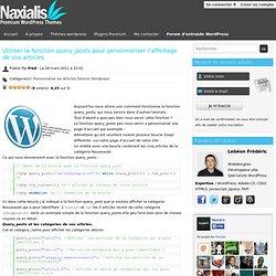 Utiliser la fonction query_posts pour personnaliser l'affichage de vos articles