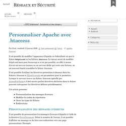 Personnaliser Apache avec .htaccess - Réseaux et Sécurité