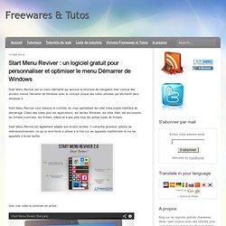 un logiciel gratuit pour personnaliser et optimiser le menu Démarrer de Windows