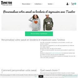Personnalisez votre sweat-shirt en broderie et impression avec Tunetoo.