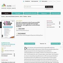 Test de la congruence entre la personnalité humaine et la personnalité de l'enseigne fréquentée: une application à trois secteurs d'activité