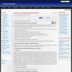 Groupe B - Personnalité borderline (état limite)-Psychoweb