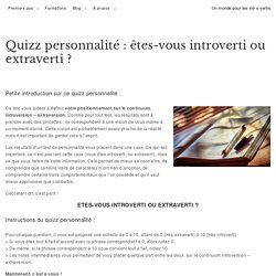 Quizz personnalité introverti extraverti