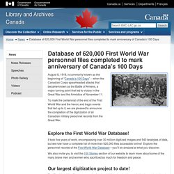 Database of 620,000 First World War personnel files completed to mark anniversary of Canada's 100 Days