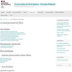 Le travail personnel de l'élève – Circonscription de Saint Gaudens – Education Nationale
