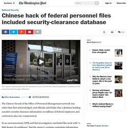 Chinese hack compromised security-clearance database