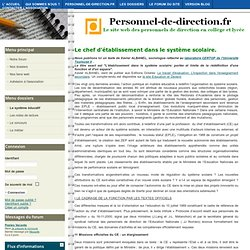 Personnel de direction - Le chef d'établissement dans le système scolaire.