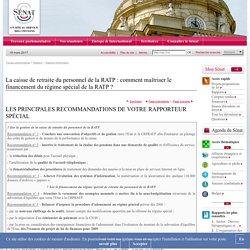 La caisse de retraite du personnel de la RATP : comment maîtriser le financement du régime spécial de la RATP ?