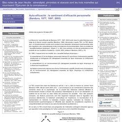 Auto-efficacité : le sentiment d'efficacité personnelle (Bandura, 1977, 1997, 2003) - Bloc-notes de Jean Heutte : sérendipité, phronèsis et atharaxie sont les trois mamelles qui nourrissent l'Épicurien de la connaissance ;-)