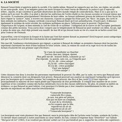 Analyse personnelle des textes de Renaud en étudiant l'influence que sa vie à pu avoir sur son oeuvre - par Arnaud Fiasse - Partie 2.6 - La société