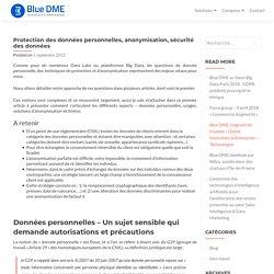 Protection des données personnelles, anonymisation, sécurité des données