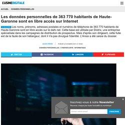 Les données personnelles de 363 770 habitants de Haute-Garonne sont en libre accès sur Internet