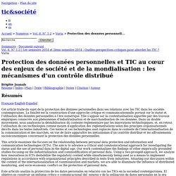 Protection des données personnelles et TIC au cœur des enjeux de société et de la mondialisation: les mécanismes d'un contrôle distribué
