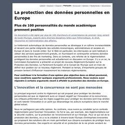 La protection des données personnelles en Europe - Plus de 100 personnalités du monde académique prennent position