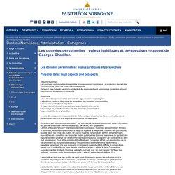 Les données personnelles : enjeux juridiques et perspectives - rapport de Georges Chatillon