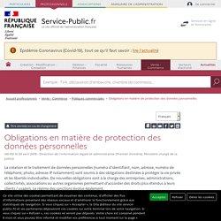 Obligations en matière de protection des données personnelles
