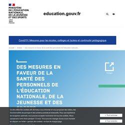 Des mesures en faveur de la santé des personnels de l'éducation nationale, de la jeunesse et des sports