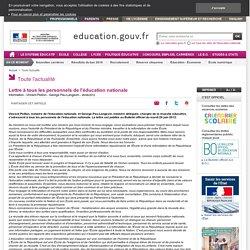 Lettre à tous les personnels de l'éducation nationale