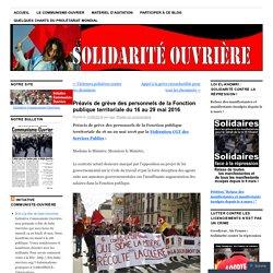 Préavis de grève des personnels de la Fonction publique territoriale du 16 au 29 mai 2016