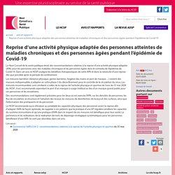 Reprise d'une activité physique adaptée des personnes atteintes de maladies chroniques et des personnes âgées pendant l'épidémie de Covid-19 / HCSP, juillet 2020