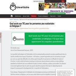 Quel accès aux TIC pour les personnes peu scolarisées en Belgique (...) - Lire et Écrire