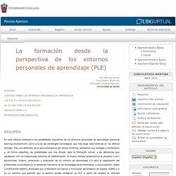 La formación desde la perspectiva de los entornos personales de aprendizaje (PLE)