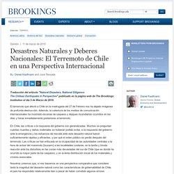 Desastres Naturales y Deberes Nacionales: El Terremoto de Chile en una Perspectiva Internacional