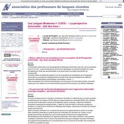 Les Langues Modernes n°3/2016 : « La perspective actionnelle : état des lieux »