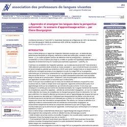 """""""Apprendre et enseigner les langues dans la perspective actionnelle : le scénario d'apprentissage-action"""", par Claire Bourguignon"""