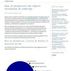 Mise en perspective des impacts écologiques du numérique