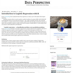 Data Perspective: Introduction to Logistic Regression with R