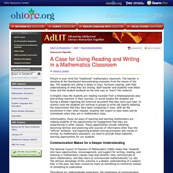 AdLIT > In Perspective Magazine > A Case for Using Reading and Writing in a Mathematics Classroom